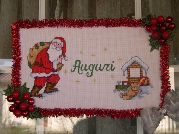 Addobbo natalizio per porta i miei lavori a punto croce for Porte natalizie